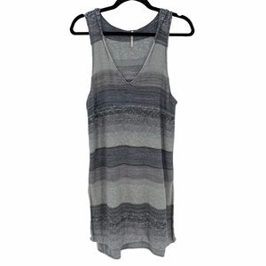 Free People- Striped Knit Sleeveless Hooded Tunic